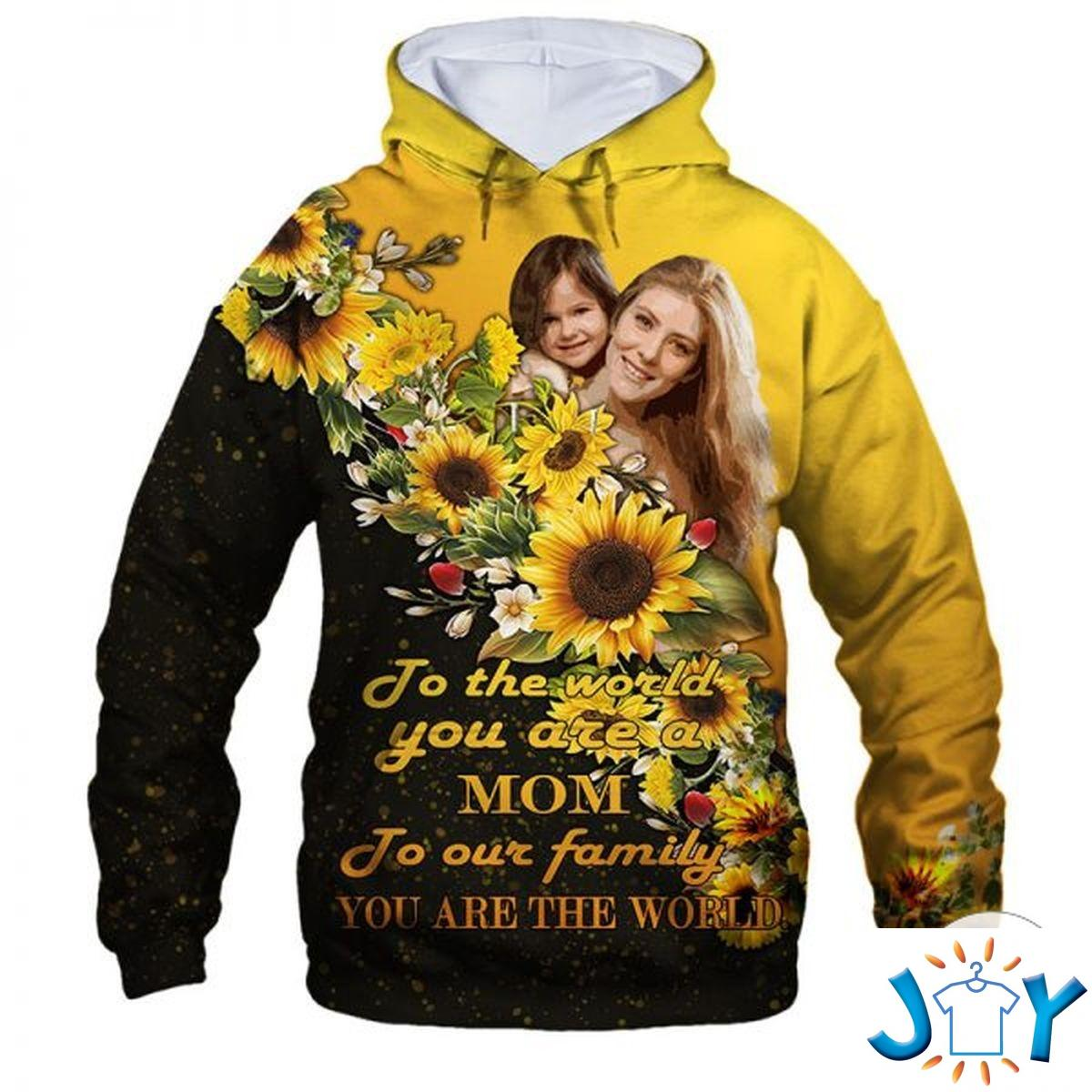 Personalized Photo The Love Between Mother And Daughter Knowns No Distance Sunflowers 3D Hoodie