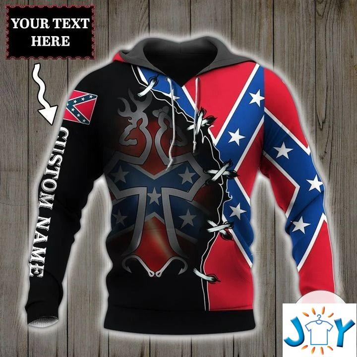 Personalized Rebel Confederate Flags 3D Hoodie