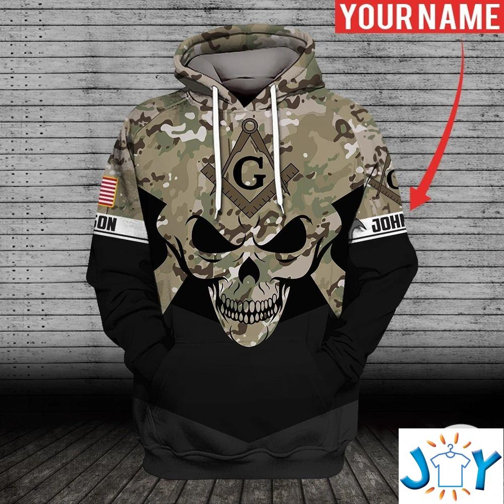 Personalized Skull Freemasonry Camo 3D Hoodie