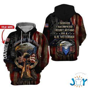personalized us army veteran i served i sacrificed i regret nothing d hoodie