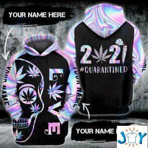 personalized weed love quarantined  skull d hoodies