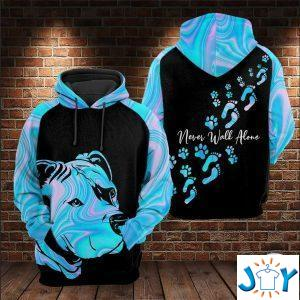 pitbull never walk alone dog d all over print hoodie
