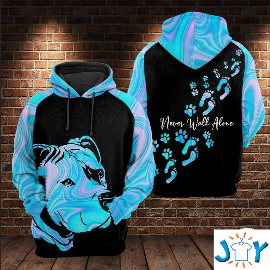 Pitbull Never Walk Alone Dog 3D All Over Print Hoodie