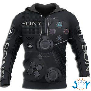 playstation ps sony dualshock  d all over printed hoodie