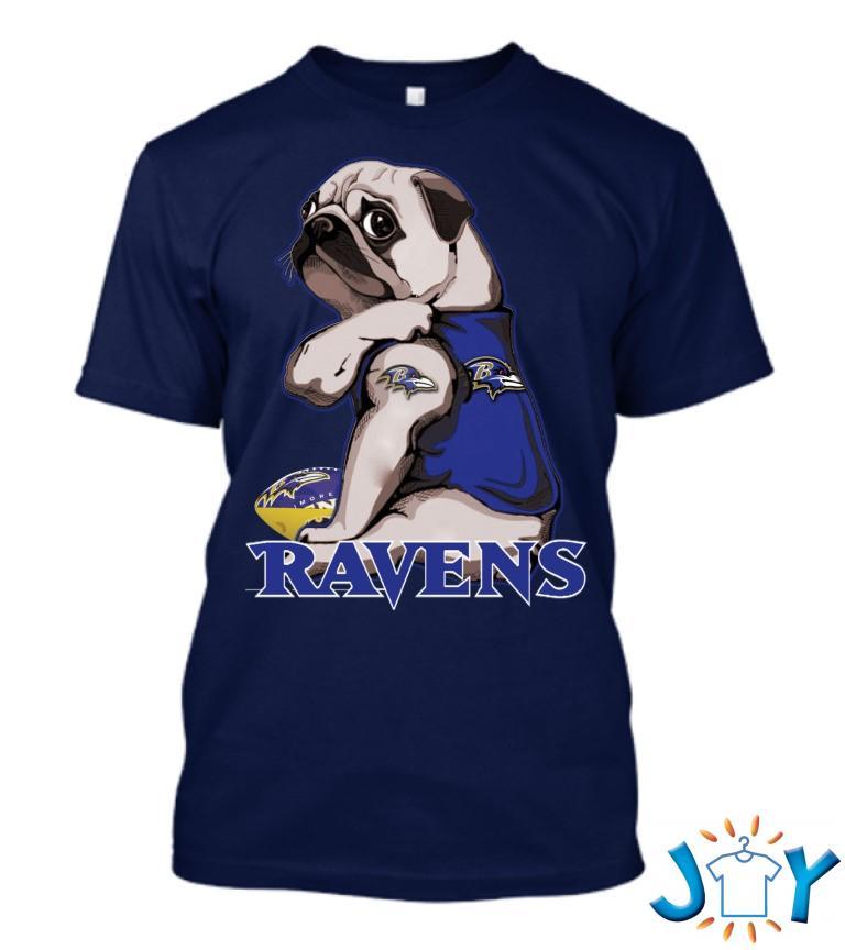 Pug Baltimore Ravens T Shirt