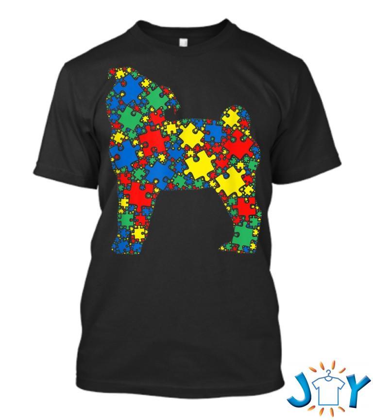 Pug Dog Autism Puzzle Men Kids Autism Awareness T Shirt
