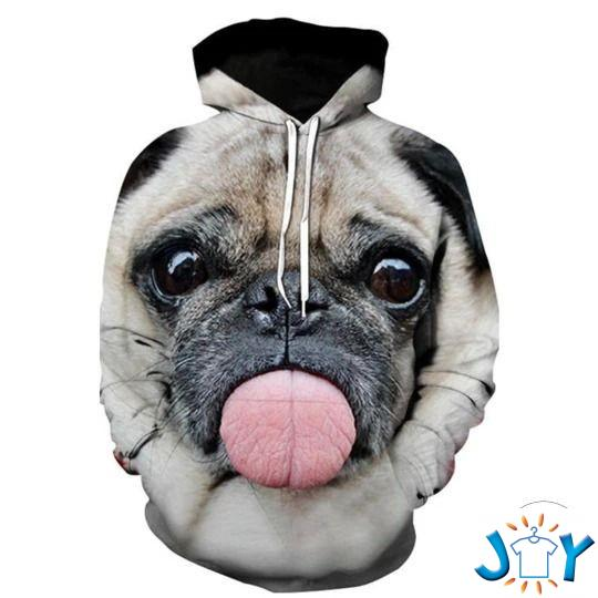 Pug With Tongue Out 3D All Over Print Hoodie