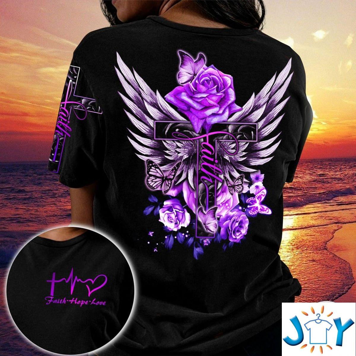 Purple Rose Faith Hope Love Jesus 3D All Over Print T-Shirt, Hoodie