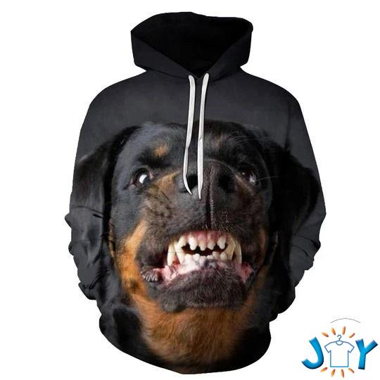 Rottweiler Angry 3D All Over Print Hoodie