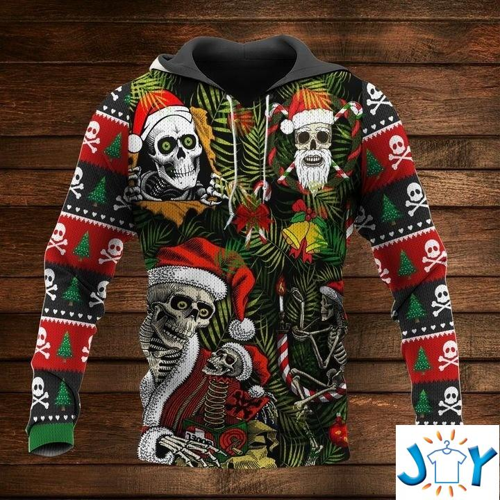 Santa Skull Christmas 3D Hoodie