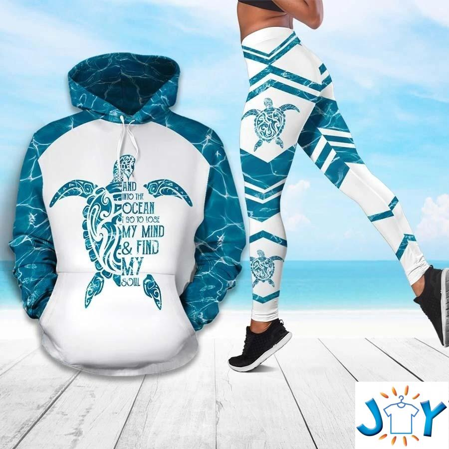 Sea Turtle And Into The Ocean I Go To Lose My Mind And Find My Soul 3D Hoodie