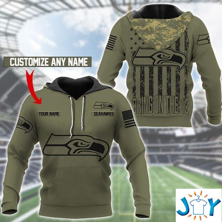 Seattle Seahawks Camo American Flag Personalized 3D Hoodie