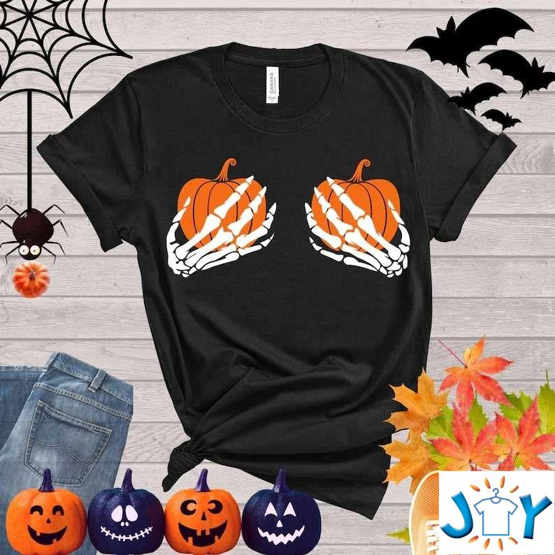 Skeleton Hands Shirt – Funny Happy Halloween Party Trick or Treat Hand Bra Shirt
