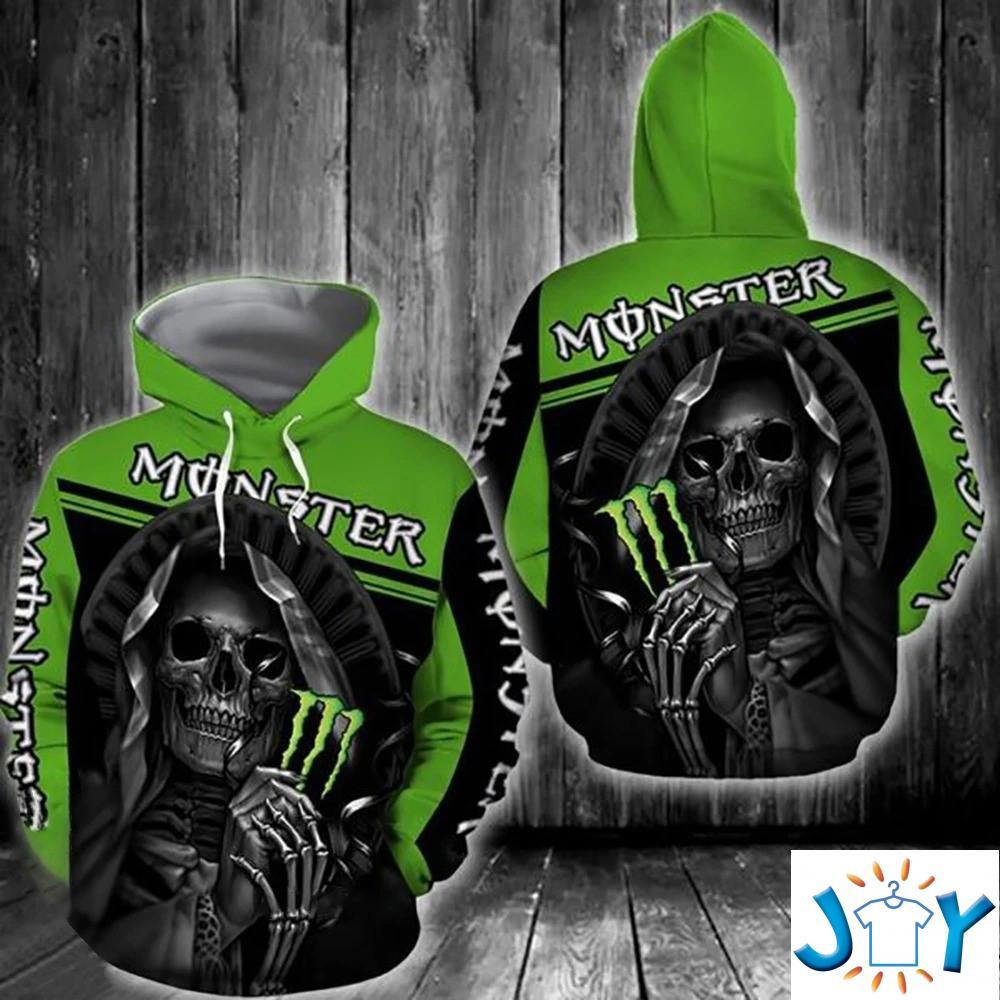 Skull Hug Monster Energy 3D All Over Print Hoodie