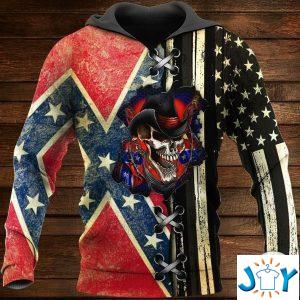 skull the confederate and us flag d hoodie