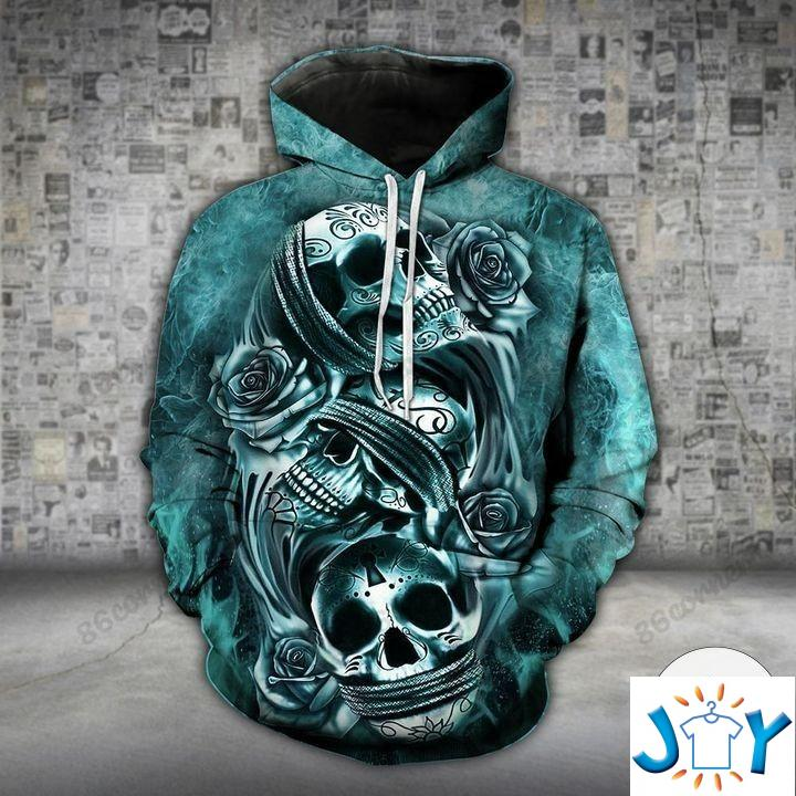 Skull Turquoise Trio 3D Hoodie