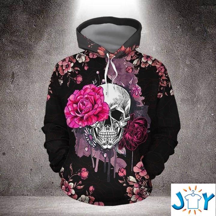 Skull With Pink Rose 3D Hoodie