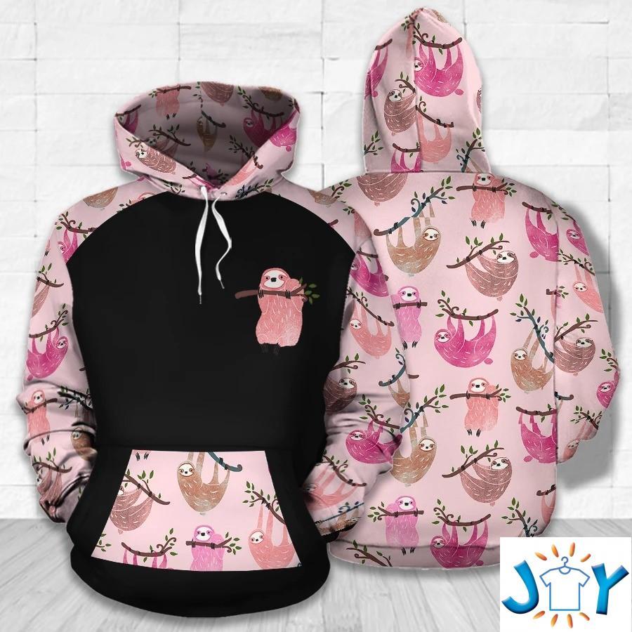 Sloth Pink Pattern 3D Hoodie