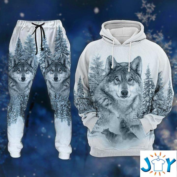 Snow Wolf 3D Hoodie And Sweatpants