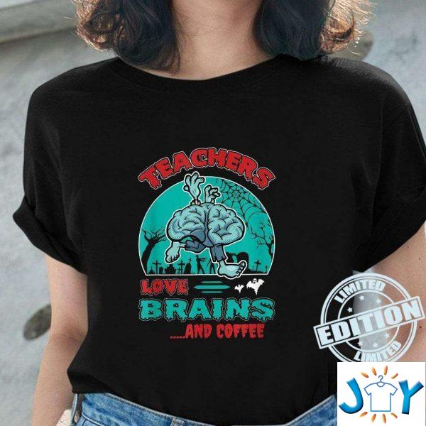 teachers love brains and coffee goth humor zombie shirt M