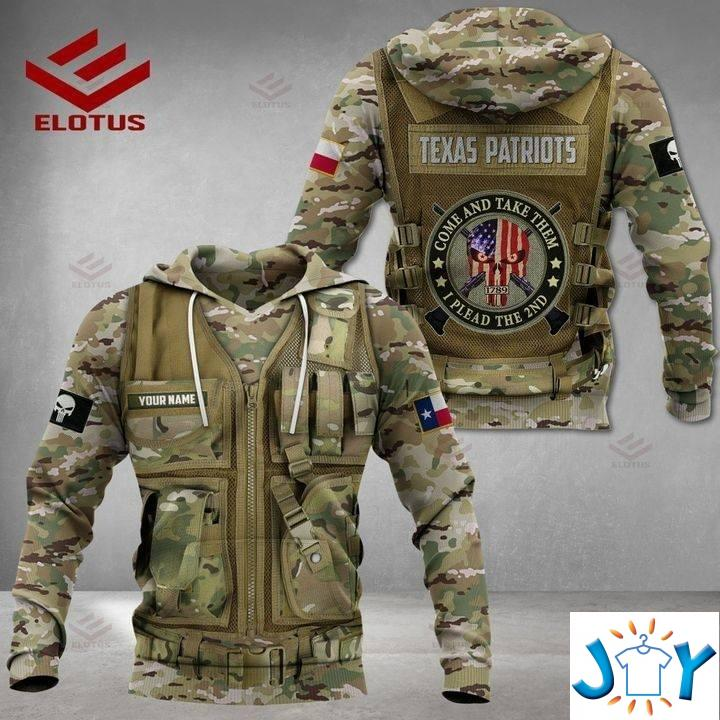 Texas Patriots Military Camouflage 3D Hoodies