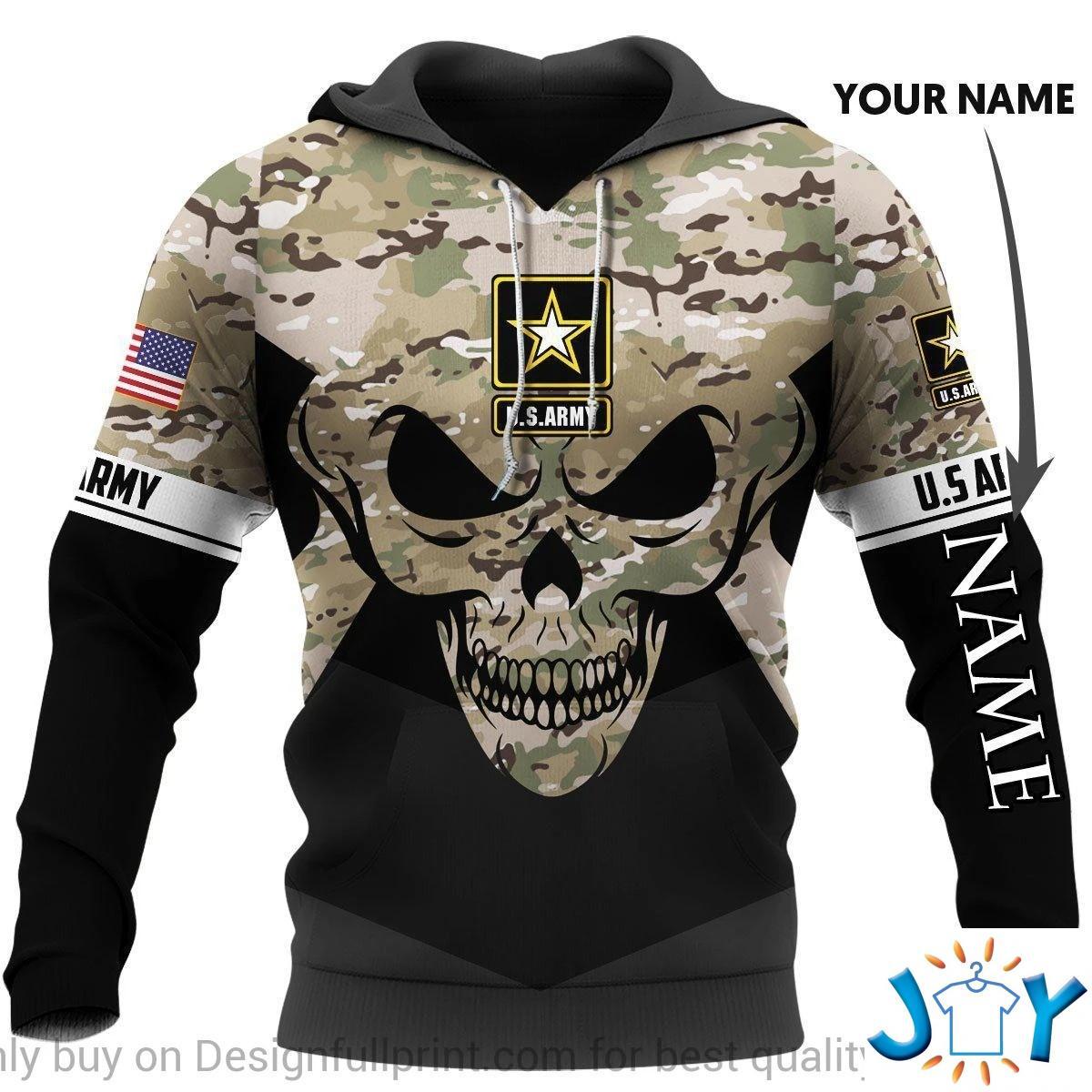 U.S. Army Skull Camo Personalized 3D Hoodie