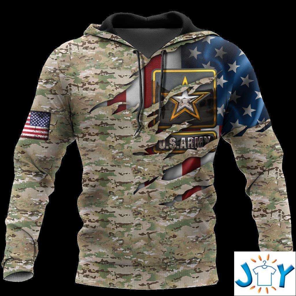 Us Army Veteran American Flag 3D All Over Printed Hoodie