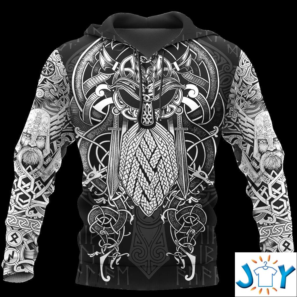 Vikings – Odin Tattoo Style 3D All Over Print Hoodie