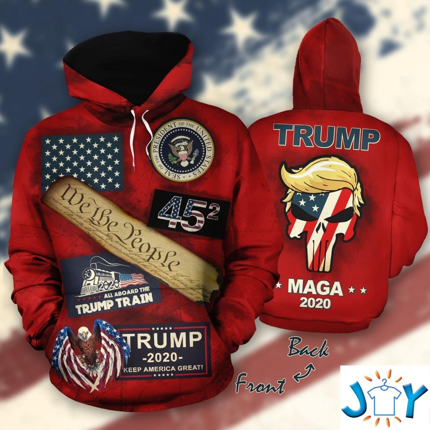 We The People All Aboard The Trump Train Maga 2020 3D Hoodie