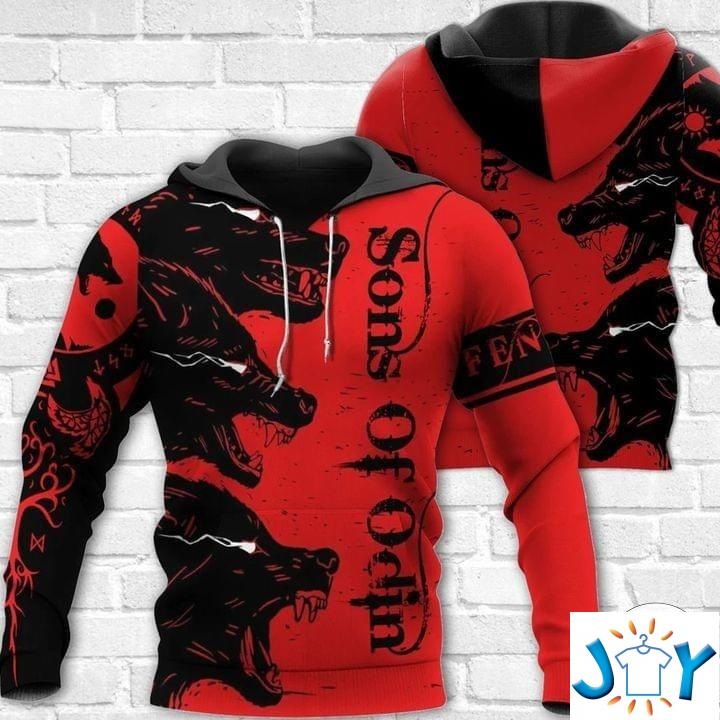 Wolf Sons Of Odin Red 3D Hoodies