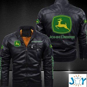 john deere leather jacket black